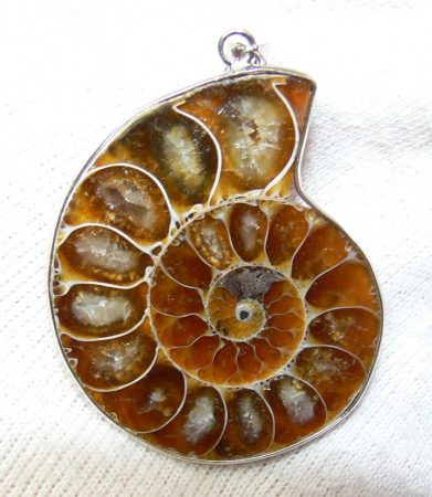 Polished ammonite pendant from Madagascar (48 mm)  SOLD (DK) 12